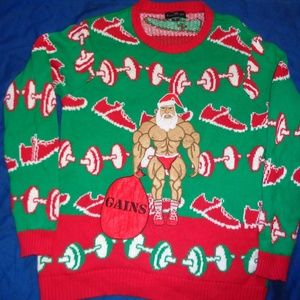 Ugly Christmas Sweater bodybuilder Mens Small
